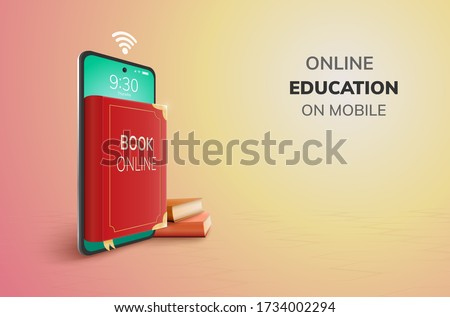 Digital Book Library Learning Online Education internet blank space on phone, mobile website background. social distance technology concept. decor by book smartphone mobile. 3D vector Illustration.