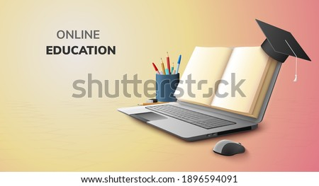 Digital Book Online Education blank space paper and  Graduation hat on laptop mobile phone website background social distance concept