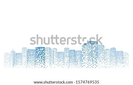 Digital building city Illustration at night, City scene on night time.