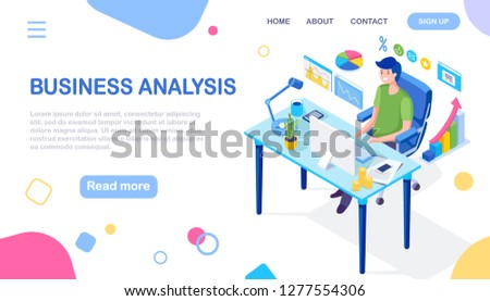 Digital business analysis. Big data. Isometric 3d laptop with graph, charts, bar. Business man working at desk. Office room. Statistics. Financial, marketing concept. Seo optimization. Vector design  #1277554306