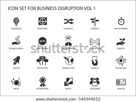 Digital business disruption icon set