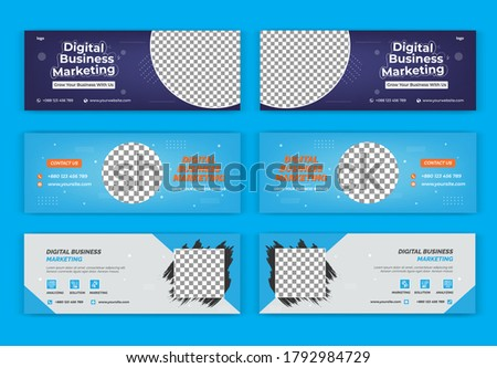 Digital Business Marketing cover page design for social media, group cover banner design, social media design
