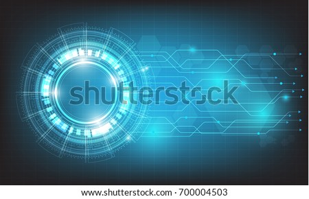digital business , vector tech circle and technology background
