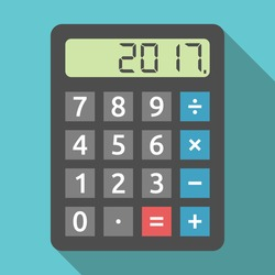 Digital calculator showing 2017 number. Planning, tax and accounting concept. Flat design. EPS 8 vector illustration, no transparency