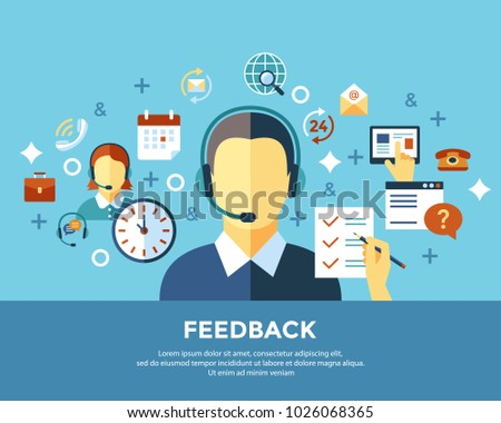 Digital call center and customer support objects color simple flat icon set collection, isolated infographics