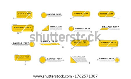 Digital callouts titles. Set of HUD futuristic sci fi frame template. Layout element for web, brochure,  infographics. Modern banners of lower third for presentation isolated on white. Vector Photo stock ©