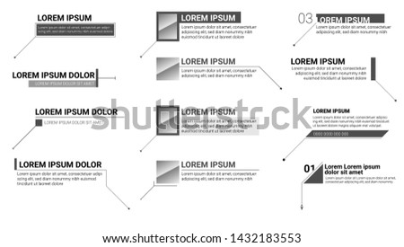 Digital callouts titles. Set of information labels. Modern banners of lower third for presentation isolated on white. Vector titles bar. Design for video infographics, advertising, movies.