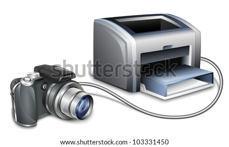 Digital camera connected to a color laser printer for printing photos. Vector illustration