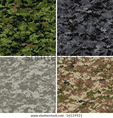 digital camouflage seamless patterns (forest, urban, universal and desert colors) - stock vector