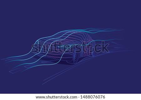 Digital car speed line art illustration