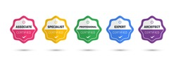Digital Certification emblem with modern concept design. Certified logo badge template. Vector illustration.