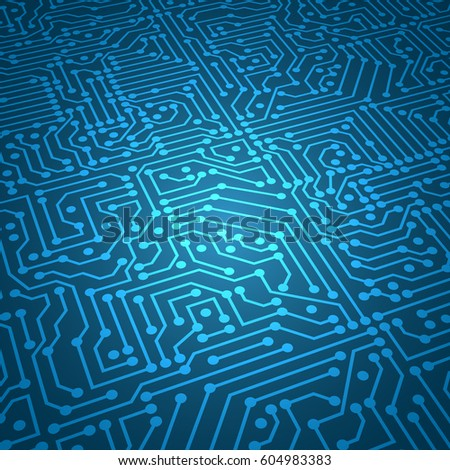 Digital circuit blue vector background
