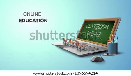 Digital Classroom Online Education internet and blank space on laptop, mobile website background. social distance concept. decor by book pencil eraser Student desk table chair. 3D vector Illustration.