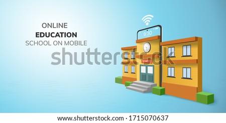 Digital Classroom Online Education kindergarten backto school concept. learning on phone, mobile website background. decor by blackboard kid, children Student desk table chair. 3D vector Illustration.