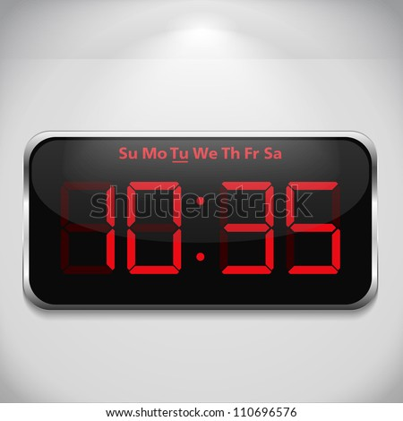 Digital clock on gray wall, vector eps10 illustration
