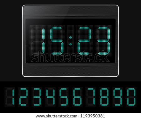Digital clock with lcd display. Vector illustration.