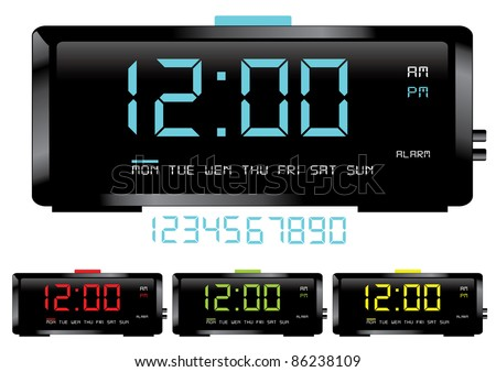 Digital clocks vector