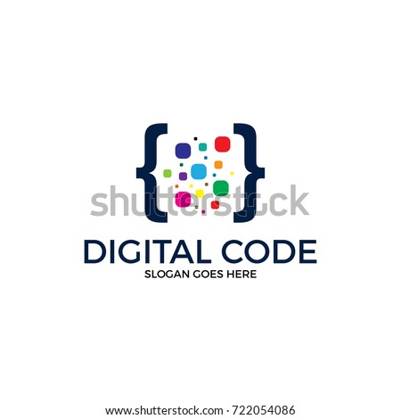digital code logo illustration. colorfull logo. coding. programmer logo icon vetor. media logo.