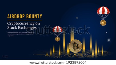Digital Coin Symbol cryptocurrency 3D background , Airdrop Vector Сток-фото ©