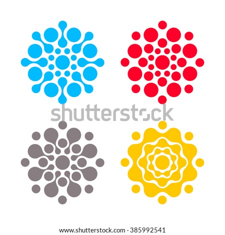 Digital colorful logos set. Vector isolated circle logo. Creative icons. Vector template logotype collection. Geek circle signs. Abstract sun.