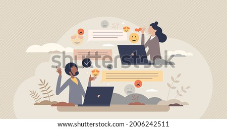 Digital communication etiquette and proper writing style tiny person concept. Social standard for reactions and emotions in computer or phone messages vector illustration. Symbolic feeling expression. Foto d'archivio ©