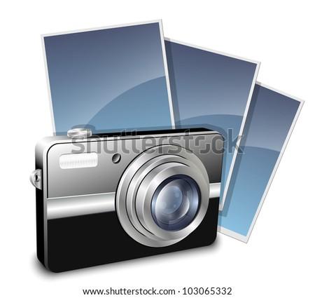 Digital compact photo camera and photos. Vector illustration