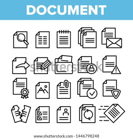Digital, Computer Documents, File Vector Linear Icons Set. Sending Work Files. Deleting Documentation, Protecting Information Contour Cliparts. Office Archive, Info Storage Thin Line Illustration