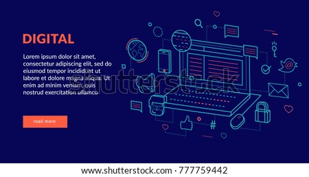 Digital Concept for web page, banner, presentation. Vector illustration