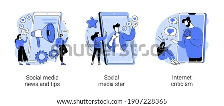 Digital content abstract concept vector illustration set. Social media news and tips, influencer, internet criticism, personal blog, hate speech, comments and share, fake profile abstract metaphor.