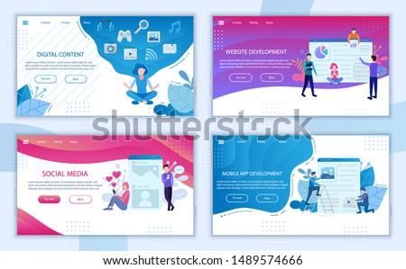 Digital content landing page bundle. Content marketing website banners. Mobile app development digital technologies, Social media business poster concept elements template. Web symbols set people flat