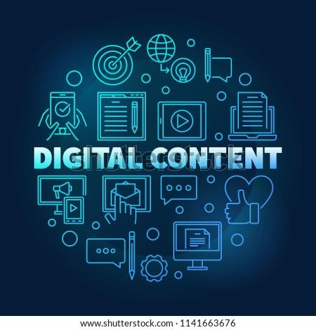 Digital Content round blue outline vector minimal illustration on dark background
