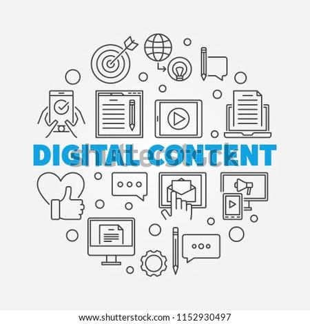 Digital Content round outline vector minimal illustration