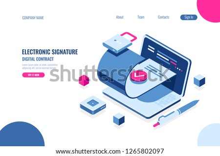 Digital contract, electronic signature of the document, authentic file, data source security, encryption technology concept, isometric flat vector illustration, blue and pink color