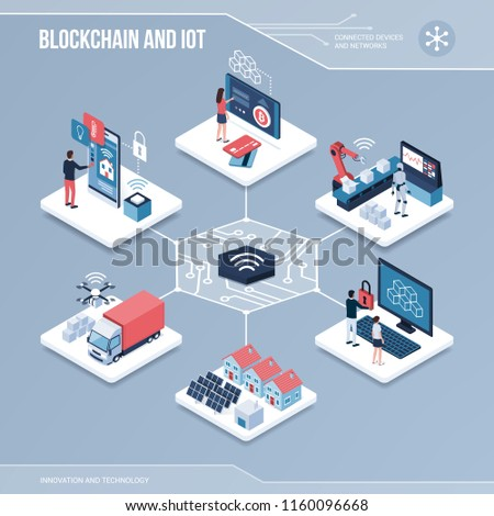 Digital core: blockchain, shared networks and iot isometric infographic with people