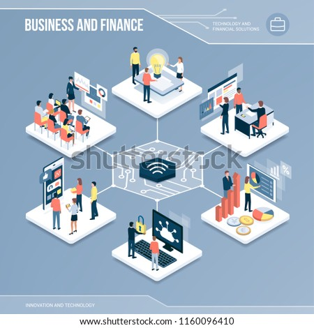 Digital core: business, finance and networks isometric infographic with people