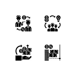 Digital crowdfunding platforms black glyph icons set on white space. Peer to peer lending strategy. Helping other people with money. Silhouette symbols. Vector isolated illustration