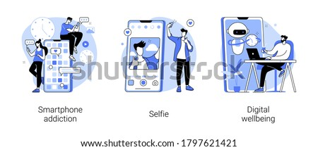 Digital culture abstract concept vector illustration set. Smartphone addiction, selfie, digital wellbeing, phone checking, social network, digital camera, stress management abstract metaphor.