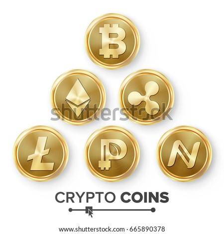 Digital Currency Counter Icon Set Vector. Fintech Blockchain. Famous World Cryptography. Gold Coins. Crypto Currency Money Finance Sign Illustration. Bitcoin, Litecoin, Peercoin, Ripple Coin, Etherum