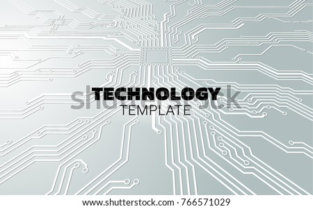 Digital cyberspace with circuit board on the green background. Motherboard with processor and electronic components. Technology background.