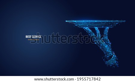 Digital 3d hand holding plate. Abstract vector waiter carrying dish in dark blue background. Best service in restaurant or hotel concept. Low poly mesh wireframe with dots, lines, stars and shapes  Photo stock ©