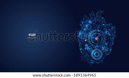 digital 3d heart with gears