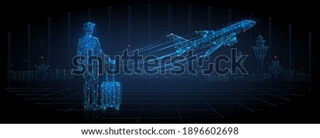 Digital 3d man with luggage looking at airplane taking off. Abstract airport departure illustration. Air travel, tourism, air transportation concept. Low poly dark blue mesh with lines, dots and stars