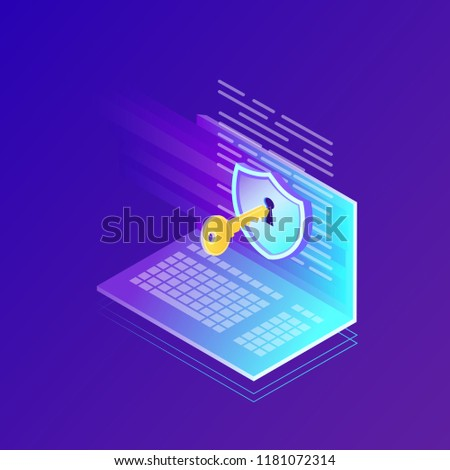 Digital data protection, privacy. 3d laptop with shield, key. Security network, personal access and protect computer. Vector design for website