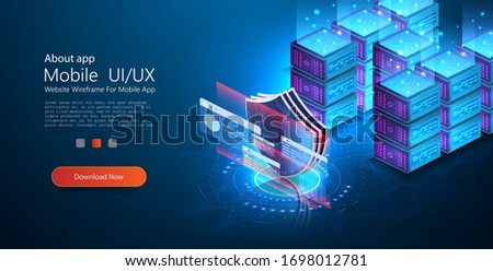Digital data security concept. Private and secure data. Can use for web banner, infographics. Data protection gdpr isometric background with images of data servers. Shield. Security of Safe concept