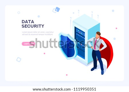 Digital data security concept. Private and secure data. Can use for web banner, infographics, hero images. Flat isometric vector illustration isolated on white background.