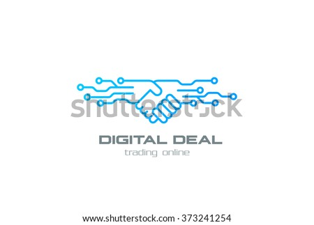 Digital Deal Online Contract Handshake Logo design vector template linear style. Shaking hands Partnership Friendship business Logotype concept outline icon.
