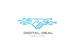 Digital Deal Online Smart Contract Handshake Logo design vector template linear style. Shaking hands Partnership Friendship business Logotype concept outline icon.