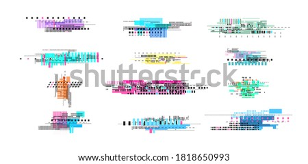 Digital decay elements. Geometric glitch, abstract art tv noise effect. Retro pixel texture, isolated broken distorted video vector elements stock photo