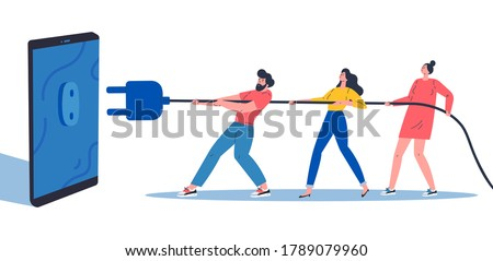 Digital Detox, Social media detox concept illustration in flat style.Young women and men disconnecting and doing a digital detox, they are unplugging the phone and being offline.Vector illustration
