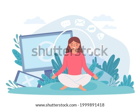 Digital detox. Woman in lotus pose meditate and take break from internet, phone and social networks. Disconnect offline life vector concept. Digital social media offline, cartoon meditation Photo stock ©